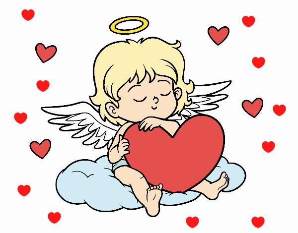 Dibujo Cupido con corazón pintado por RocioNayla