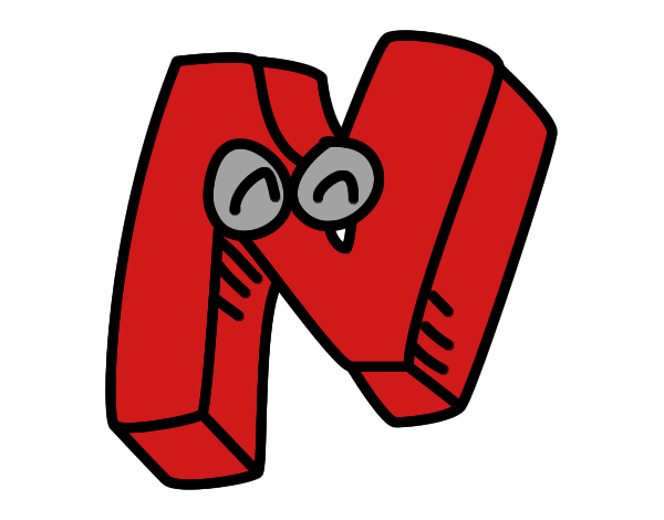 Dibujo Letra N pintado por mendz
