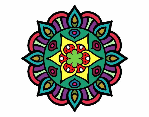 Dibujo Mandala vida vegetal pintado por mendz