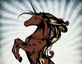 Dibujo Unicornio mágico pintado por mendz