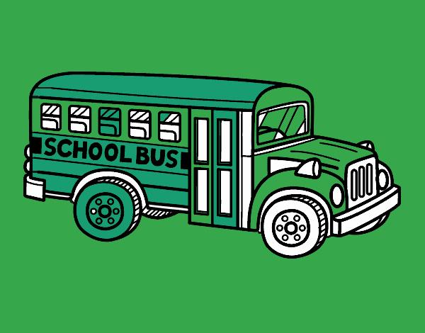 Dibujo Autobús escolar americano pintado por popida
