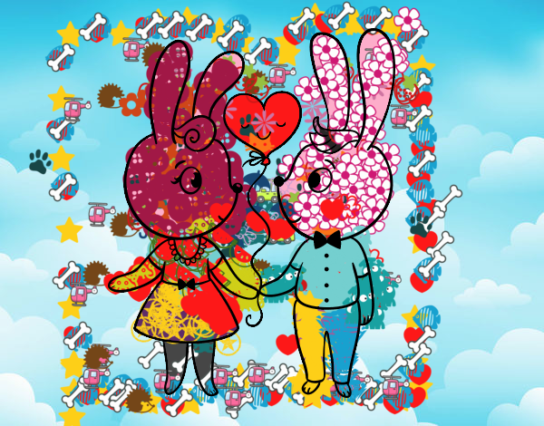 Dibujo Conejos enamorados pintado por Francesita