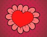 Dibujo Corazón flor pintado por Saritita