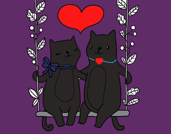 Dibujo Gatitos enamorados pintado por popida