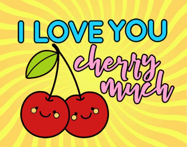 Dibujo I love you cherry much pintado por mendz