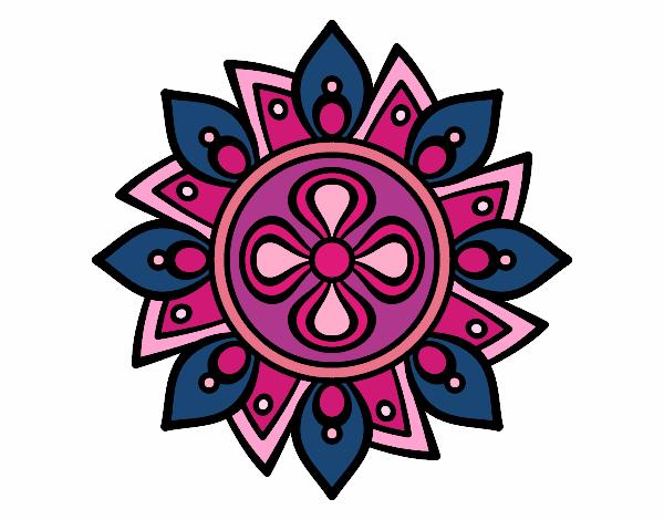 Dibujo Mandala flor sencilla pintado por mendz