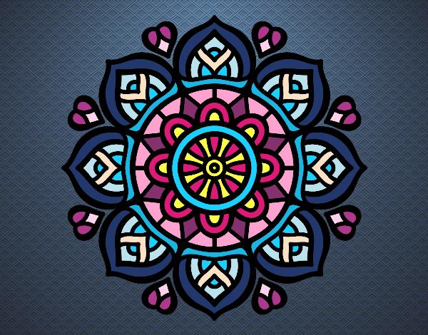 Dibujo Mandala para la concentración mental pintado por mendz