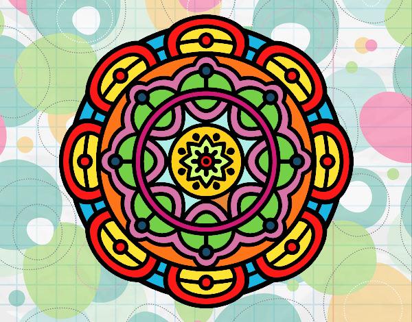 Dibujo Mandala para la relajación mental pintado por mendz