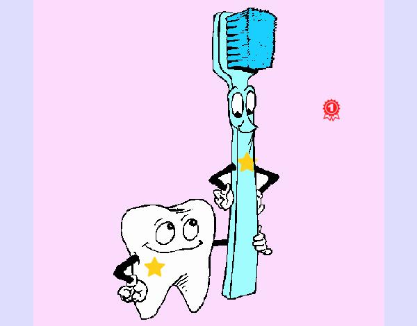 Muela y cepillo de dientes
