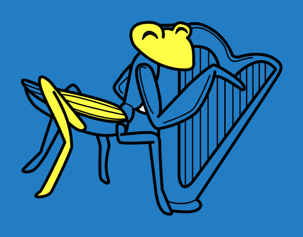 Saltamontes con arpa