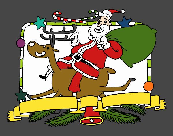Santa Claus y reno de Navidad
