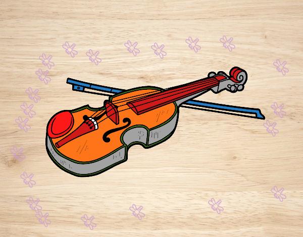 Dibujo Violín Stradivarius pintado por mendz