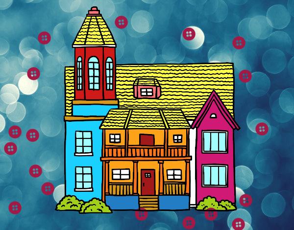 Dibujo Casa de dos pisos con torre pintado por mendz