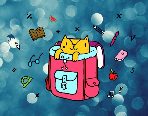 Dibujo Gato dentro de una mochila pintado por Kerstin