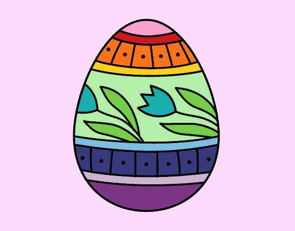 Huevo de Pascua con tulipanes