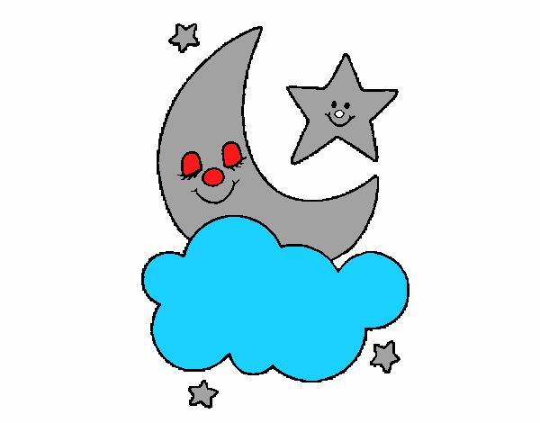 Luna y estrellas