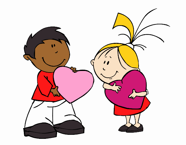 San Valentin Dibujos En Color: Dibujo De Niños En San Valentín Pintado Por En Dibujos.net