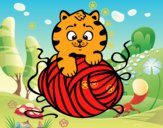 Dibujo Gato con ovillo de lana pintado por dipperdibu