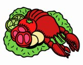 Dibujo Langosta con verduras pintado por dicarelli