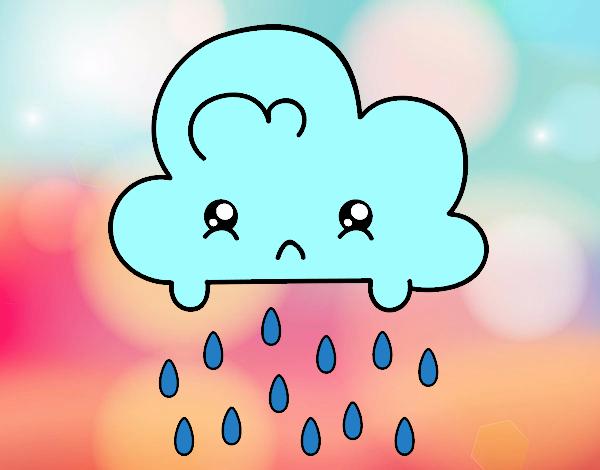 la nube kawaii triste