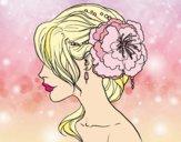 Dibujo Tocado  de novia con flor  pintado por dicarelli