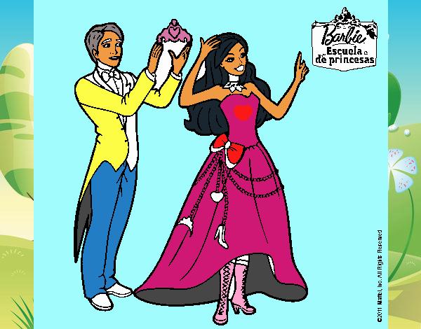 Dibujo Un amigo de Barbie le corona pintado por popida