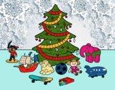 Árbol de Navidad y juguetes