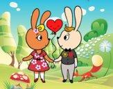 Dibujo Conejos enamorados pintado por dipperdibu