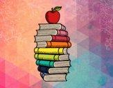 Dibujo Libros y manzana pintado por AgusNet