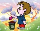 Niño teciclando papel