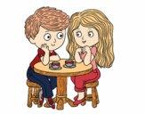 Dibujo Niños tomando café pintado por AgusNet