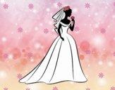 Vestido de boda y velo
