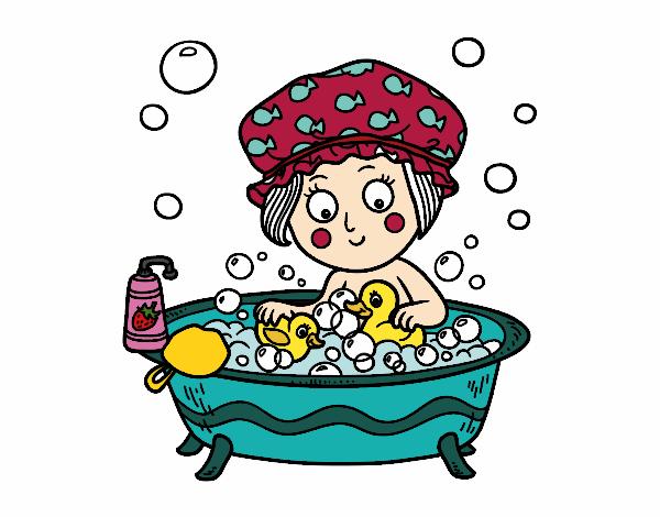 Dibujo Niña tomando un baño pintado por albabm24