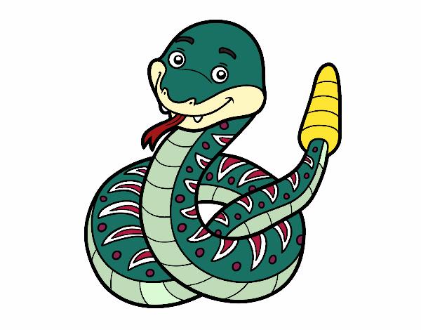 Dibujo Una serpiente de cascabel pintado por albabm24