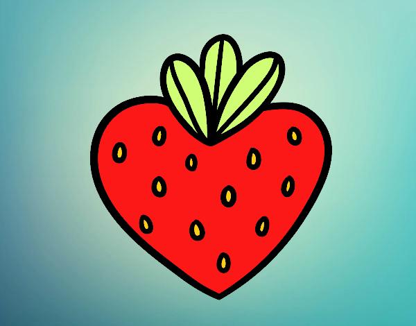 Dibujo Fresa corazón pintado por Lorelai