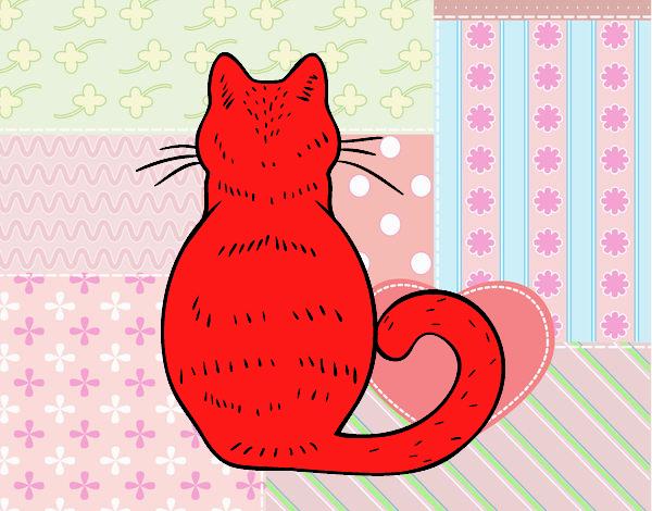 Dibujo Gato de espaldas pintado por Lorelai
