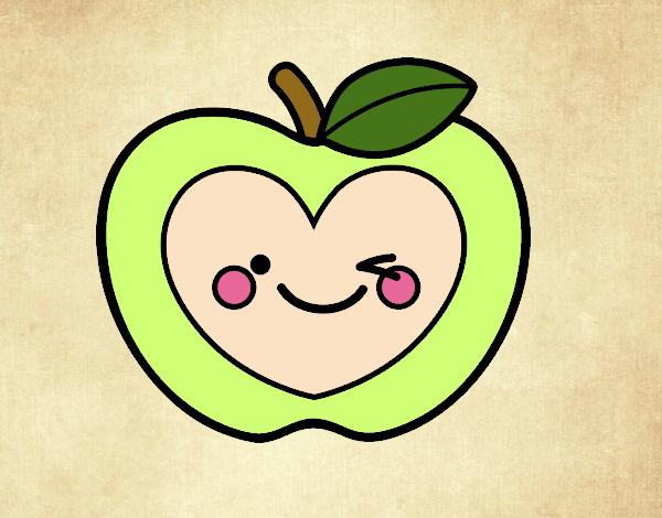 Dibujo Manzana corazón pintado por andreina08