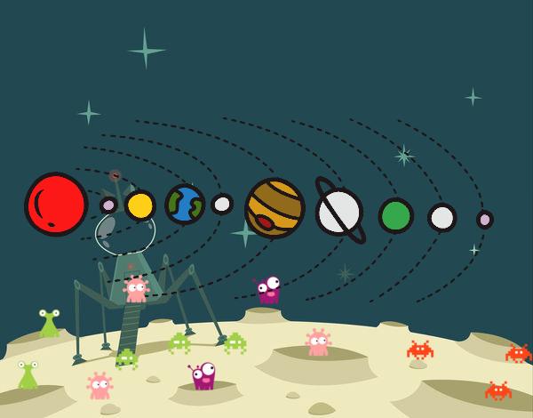 Dibujos Para Colorear Del Sistema Solar: Dibujo De Sistema Solar Pintado Por En Dibujos.net El Día