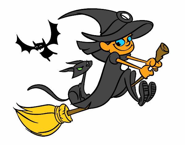 Bruja y gato negro volando