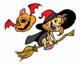 Brujita y calabaza de Halloween