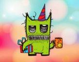 Monstruo con regalos de cumpleaños