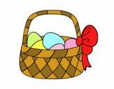 Cesta con huevo de Pascua