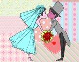 Marido y Mujer besándose