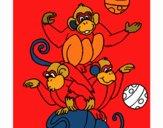Monos haciendo malabares