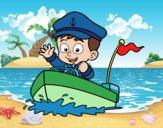 Dibujo Barco y capitán pintado por epv4