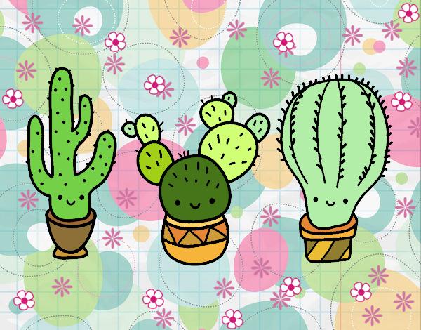 Dibujo 3 mini cactus pintado por gatitaYT
