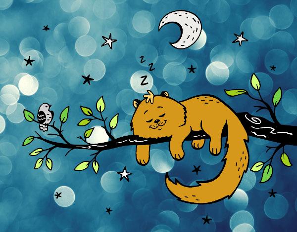 Dibujo El gato y la luna pintado por gatitaYT