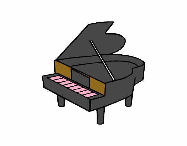 Piano de cola abierto