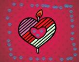 Vela en forma de corazón