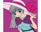 Chica con sombrero pamela